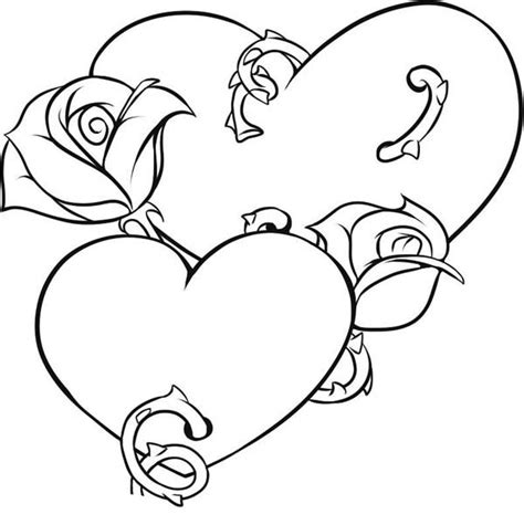 coloring pages of hearts with roses hearts and roses coloring pages coloring home