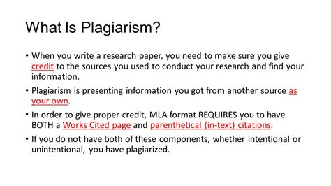 giving credit in a research paper works cited parenthetical citations and plagiarism ppt