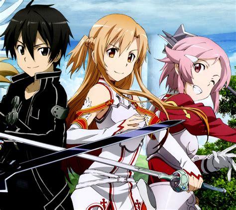 anime wallpaper for android sword art online sword art online 2 kirito asuna lisbeth android wallpaper