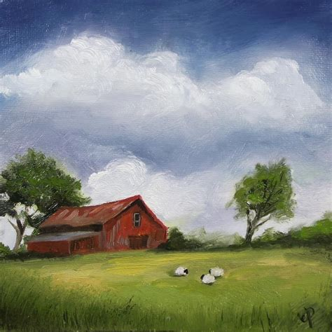 barn sheep j palmer original painting