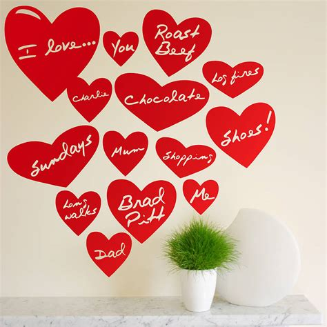 hearts wall stickers personalised wall stickers by the bright blue pig notonthehighstreet