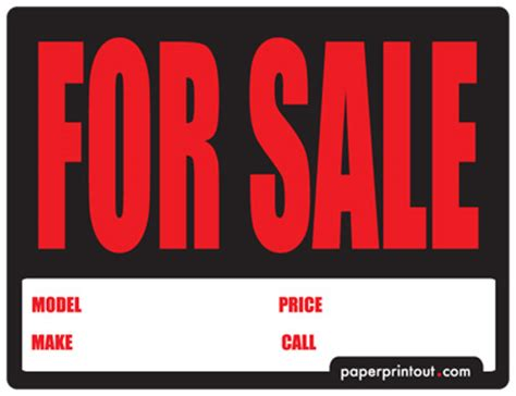 templates for sale free car for sale sign to print