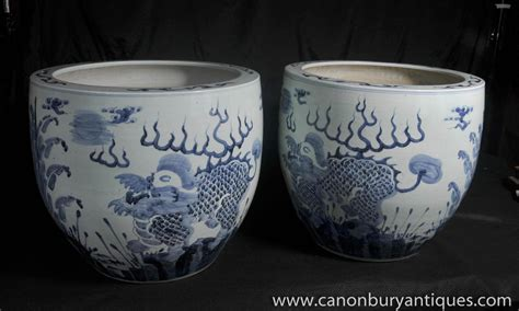 Blue And White Pottery Planters by Blue And White Porcelain Planters Bowls Nanking Pottery Ebay