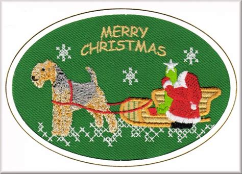 lakeland terrier christmas card embroidered by dogmania c3562