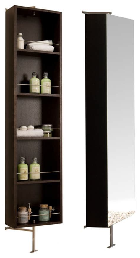 due rotating mirror shelf cabinet wenge contemporary - Contemporary Bathroom Shelves