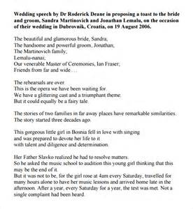 of honor speech template sle wedding speech exle 7 free documents