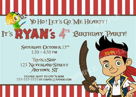 free jake and the neverland pirates birthday invitations