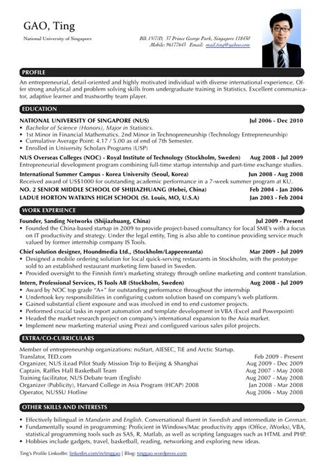 Resume Template Word Singapore Cv Sle