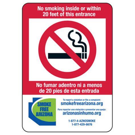 no smoking sign arizona state smoke free law signs az no smoking 20 ft bilingual