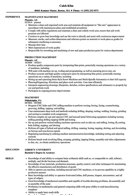 Machinist Resume by Machinist Resume Sles Velvet