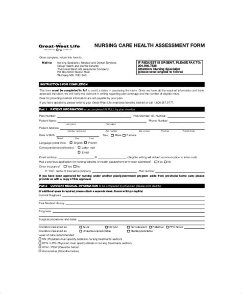 nursing assessment form med surg nursing assessment