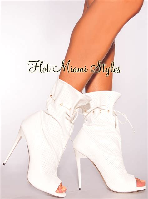 white high heel booties white faux leather ruched high heel booties