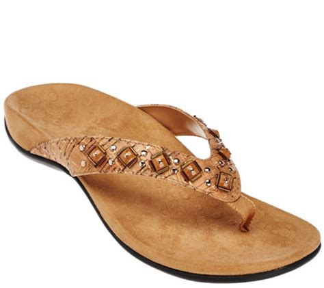 vionic shoes qvc vionic w orthaheel embellished sandals floriana