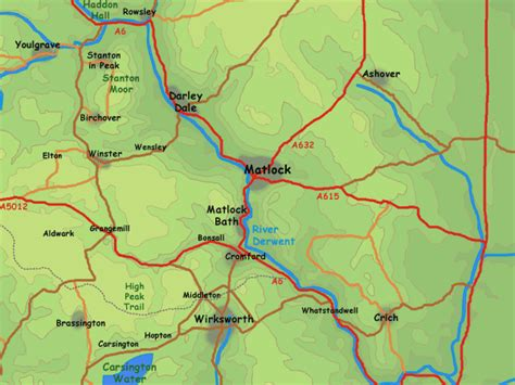 map of and surrounding areas matlock area map
