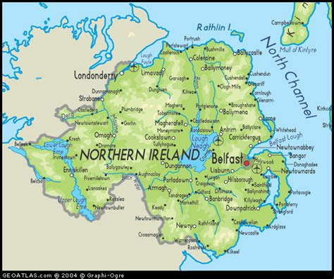 physical map of northern ireland map road map northern