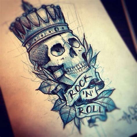 rock music tattoo designs idea skull blue crown rock n roll