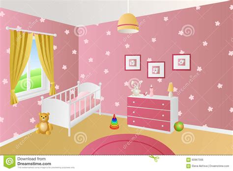 baby room clipart modern interior baby room pink toys white bed window illustration stock vector image 60967566