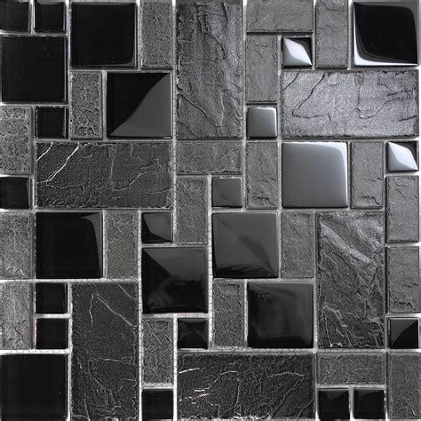 1sf brown stone glass blend pattern mosaic tile kitchen 1sf black stone glass blend pattern mosaic tile kitchen