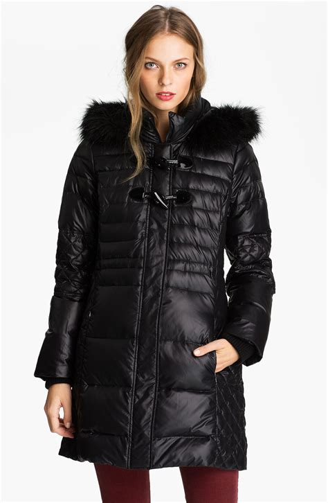 Quilted Coat With by Guess Quilted Coat With Faux Fur Trim Exclusive In Black Lyst