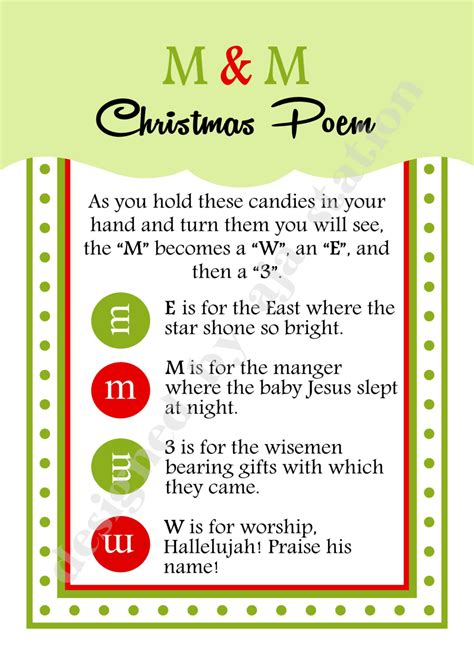 printable christmasreligious scenes to add your own poems to and print m and m poem 3 5x5 card u print