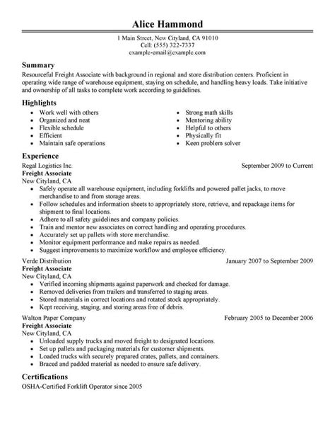 Freight Associate Sle Resume by Best Sales Freight Associate Resume Exle Livecareer