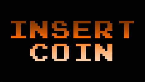 Kaos Pixel Insert Coin To Continue pixel style message hd animation on black background stock footage