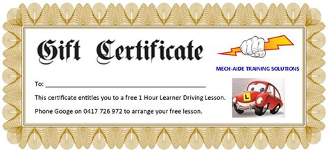 printable driving lesson voucher template mech aide training solutions learner driving lessons