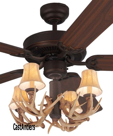 Antler Ceiling Fan With Light Standard Size Fans 52 Quot Lodge 4 Light Antler Ceiling Fan Rustic Lighting And Decor From