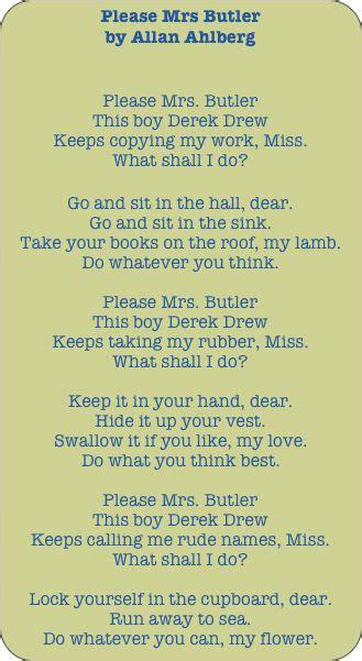 Mrs Butler allan ahlberg mrs butler great poetry