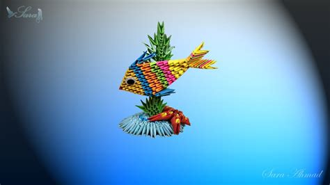 3d Fish Origami - how to make 3d origami fish and see