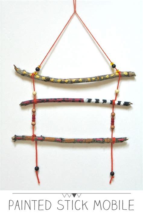 mobile stick crafts for painted stick mobiles playful learning