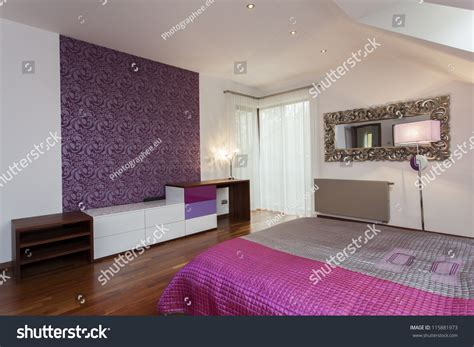 patterned bedroom wallpaper violet bedroom with patterned wallpaper on one wall stock