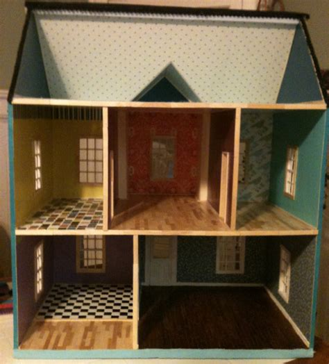 how to make a doll house with popsicle sticks a popsicle stick dollhouse puzzledpixie