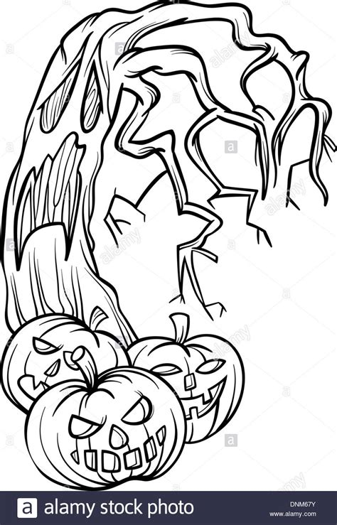spooky tree coloring page black and white cartoon illustration of halloween pumpkins