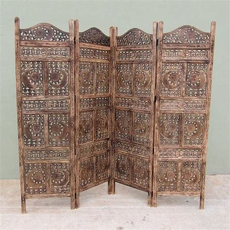 Woodland Imports Nau Sh15811 Carved Screen Sun And Moon Carved Wood Room Divider