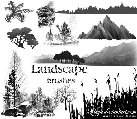pattern landscape photoshop free download landscape brushes nature photoshop brushes brushlovers com