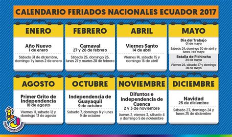 Calendario De Trabajo 2017 Calendario De Feriados 2017 Ecuadorlegalonline