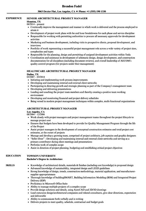Architectural Director Sle Resume by Architectural Project Manager Resume Sles On Intern Architect Resume Sales Lewes Itacams