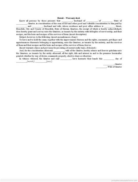 Free Printable Hawaii Warranty Deed Form Pdf Word Fence Warranty Template