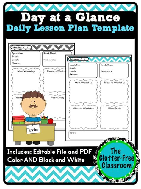 week at a glance lesson plan template day at a glance daily lesson planning lesson plan