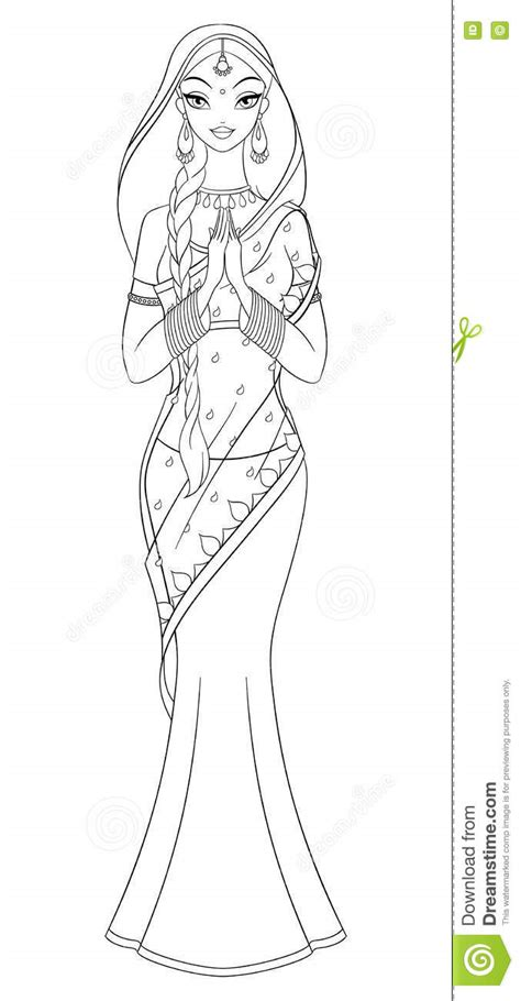 indian girl coloring pages outlined indian girl in sari coloring page vector