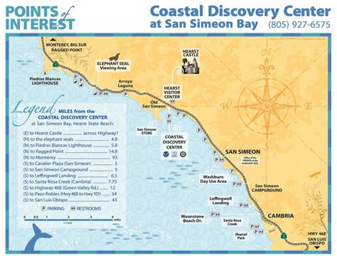 california map hearst castle coastal discovery center san simeon ca california beaches