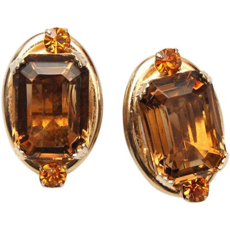 Brown Topas unfoiled brown and topaz rhinestone earrings from