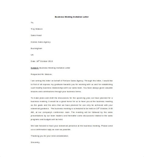 business letter meeting invitation hr invitation letter template 19 free word pdf