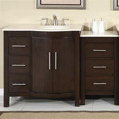53 Inch Bathroom Vanity Single Sink Mahogany Base Cream