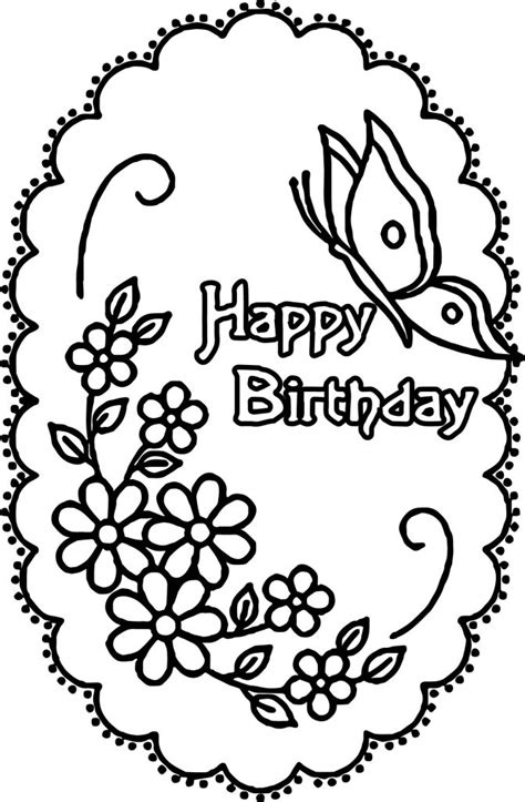 happy birthday coloring pages happy birthday flower butterfly coloring page