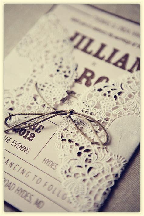 Pretty Wedding Invitations by Pretty Rustic Lace Wrapped Wedding Invitation Cards Ipunya
