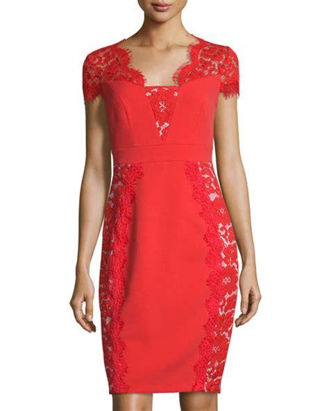 Lace Panel Sheath Dress jax cap sleeve lace panel sheath dress