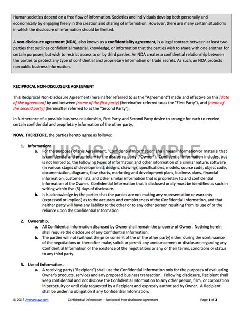 Non Disclosure Agreement Nda Template Artist Non Disclosure Agreement Template