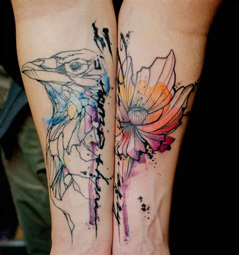 watercolor tattoo after 5 years stencil and watercolor tattoos by klaim scene360